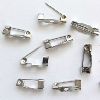 50 Silver tone Brooch Back Pins 14X5mm